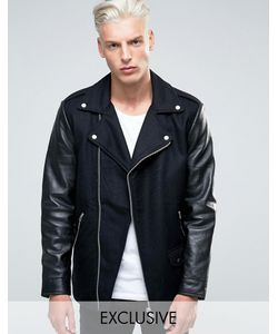 Black Dust | Шерстяная Байкерская Куртка С Кожаными Рукавами