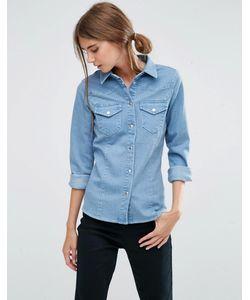 Asos | Голубая Приталенная Джинсовая Рубашка В Стиле Вестерн