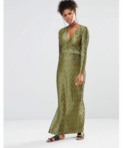 Liquorish | Платье Макси С Глубоким V-Образным Вырезом И Длинными Рукавами