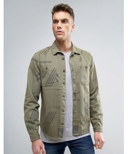 Asos | Зеленая Рубашка Навыпуск В Стиле Милитари С Отложным Воротником