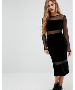 First & I | Mesh Insert Column Midi Dress