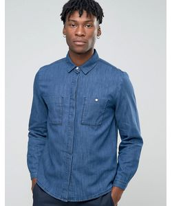 Bethnals   Синяя Рубашка С Карманом На Груди Steve