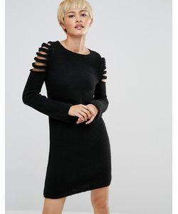 Oneon | Вязаное Платье-Джемпер С Вырезами На Плечах