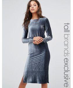 Glamorous Tall   Плиссированное Бархатное Платье Миди С Длинными Рукавами