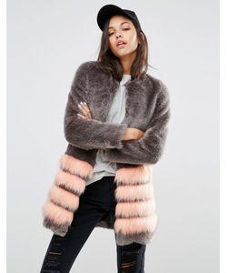 Unreal Fur | Шуба Из Искусственного Меха В Полоску Tundra