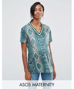 ASOS Maternity | Длинная Рубашка Для Беременных С Принтом И Окантовкой