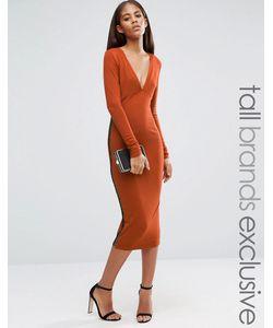 NaaNaa Tall | Платье Миди С Глубоким Вырезом И Решетками Из Лямок По Бокам