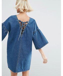 Asos | Джинсовое Платье С Расклешенными Рукавами И Завязкой Сзади