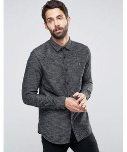 Farah | Черная Фактурная Рубашка Слим