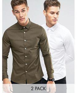 Asos | 2 Рубашки Скинни Белая Скидка 15
