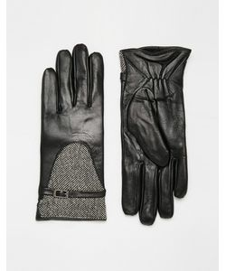 Totes | Кожаные Перчатки Со Вставками Из Твида С Люрексом