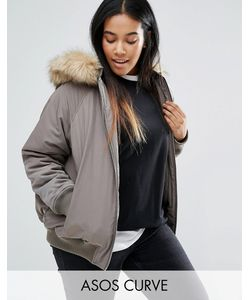 ASOS CURVE   Bomber Jacket With Faux Fur Hood