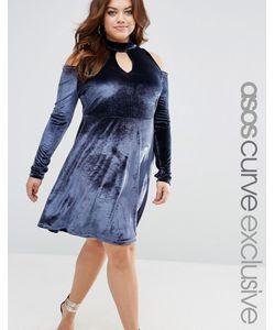 ASOS CURVE | Бархатное Платье С Открытыми Плечами И Вырезом Капелькой