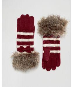Alice Hannah | Перчатки В Полоску С Отделкой Искусственным Мехом