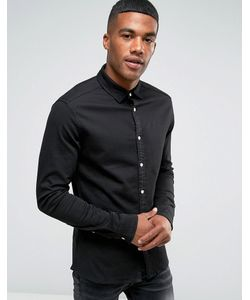Asos   Skinny Denim Shirt In Overdye