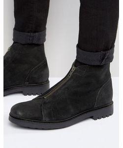Asos | Черные Замшевые Ботинки На Молнии Спереди