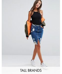 Missguided Tall | Destroyed Hem Denim Skirt