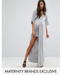 Missguided Maternity | Knot Front Slinky Maxi Dress