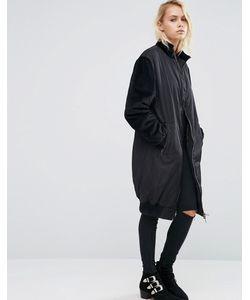 Asos | Длинное Пальто С Контрастными Бархатными Рукавами