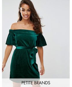 Boohoo Petite | Бархатное Платье С Открытыми Плечами