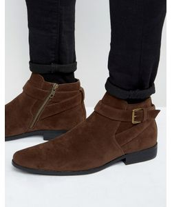 Asos | Chelsea Boots In Faux Suede With Strap Detail