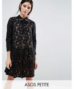 ASOS PETITE | Кружевное Платье-Премиум С Присборенной Юбкой И Отделкой