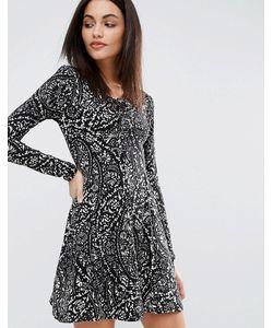 Qed London | Короткое Приталенное Платье С Принтом Пейсли И Люверсами