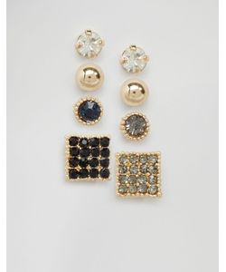 Cara Jewellery | Набор Из 4 Пар Сережек-Гвоздиков Со Стразами Cara Ny