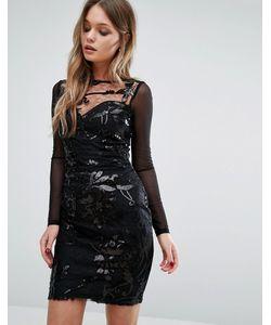 Lipsy | Платье С Длинными Рукавами И Узором Из Пайеток