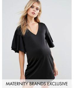 Missguided Maternity   Черное Платье Для Беременных С Расклешенными Рукавами