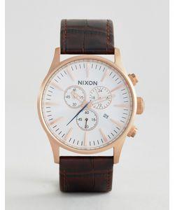 Nixon | Часы С Хронографом И Коричневым Кожаным Ремешком Sentry