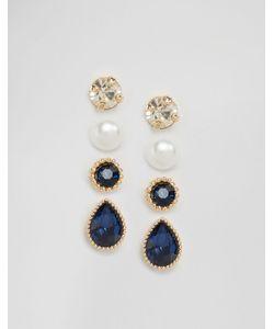 Cara Jewellery | Набор Из 4 Пар Сереггвоздиков С Камнем Cara Ny