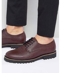 Asos | Бордовые Кожаные Ботинки На Шнуровке