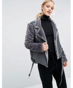 J.O.A | Байкерская Куртка Со Вставками Из Искусственного Меха