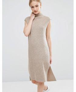 J.O.A | Трикотажное Платье Миди С Отделкой