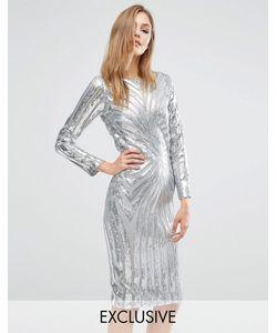 Club L | Платье Миди С Длинными Рукавами И Отделкой Блестками