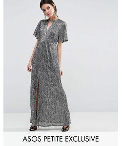 ASOS PETITE | Платье Макси Цвета Металлик С Вырезом На Горловине И Высоким Разрезом