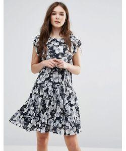 Y.A.S. | Черно-Белое Платье С Заниженной Талией И Цветочным Принтом Y.A.S Show
