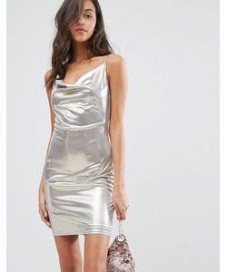 Miss Selfridge | Серебристое Платье На Бретельках Со Свободным Воротом