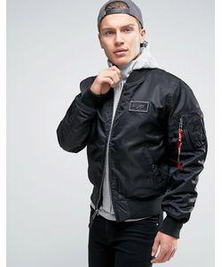 Alpha Industries | Черная Классическая Куртка-Пилот С Капюшоном Ma-1