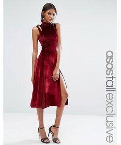 ASOS TALL | Бархатное Платье Миди С Вырезами На Плечах И Разрезами