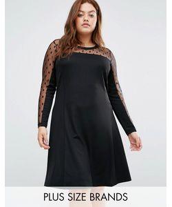 Junarose | Платье-Трапеция С Сеточкой В Горошек