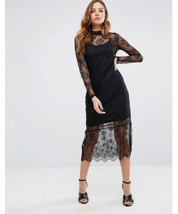Vero Moda | Кружевное Платье Миди С Длинными Рукавами
