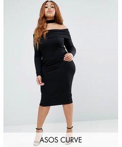 ASOS CURVE   Облегающее Платье Миди С Длинными Рукавами