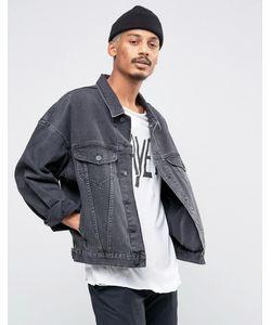 Asos | Выбеленная Черная Джинсовая Куртка В Стиле Oversize