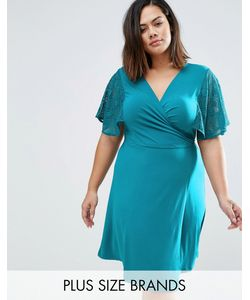 Praslin | Платье С Запахом И Кружевными Рукавами-Кимоно Plus