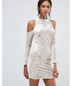 Madam Rage | Облегающее Бархатное Платье С Вырезами На Плечах