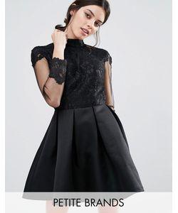 Chi Chi Petite   Платье Для Выпускного C Длинными Рукавами И Кружевным Лифом Chi Chi