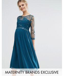 Little Mistress Maternity   Приталенное Платье Для Беременных С Цветочной Аппликацией