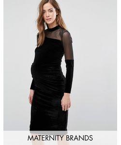 Bluebelle Maternity | Бархатное Облегающее Платье Для Беременных С Сеточкой